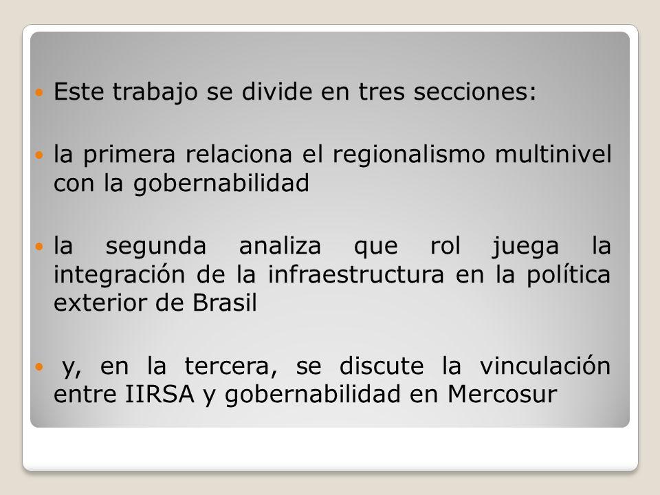 Este trabajo se divide en tres secciones: la primera relaciona el regionalismo multinivel con la gobernabilidad la segunda analiza que rol juega la in