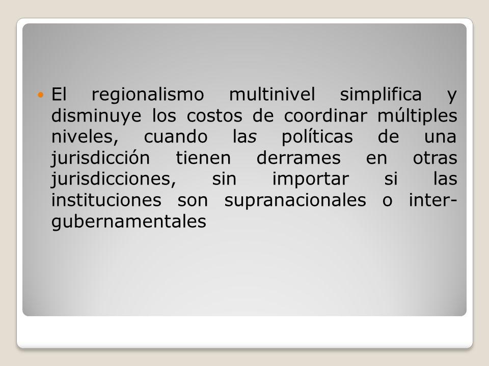 El regionalismo multinivel simplifica y disminuye los costos de coordinar múltiples niveles, cuando las políticas de una jurisdicción tienen derrames