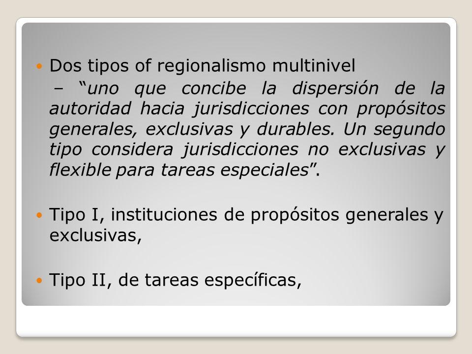Dos tipos of regionalismo multinivel – uno que concibe la dispersión de la autoridad hacia jurisdicciones con propósitos generales, exclusivas y durab