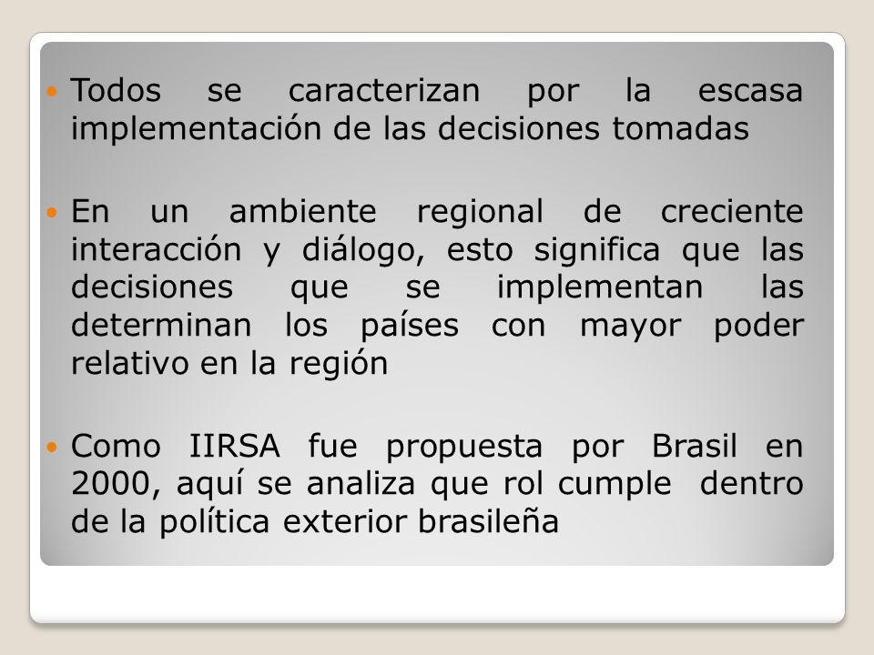 II.LA POLITICA SUDAMERICANA DE BRASIL IIRSA es parte del proyecto sudamericano de Brasil, iniciado con el MERCOSUR (1991), continuado con las negociaciones CAN- MERCOSUR (1998-2003), la CSAN (2004 y, en 2008, la UNASUR, Sus objetivos son: ampliar mercados y asegurar predominio regional como mecanismo de promoción global