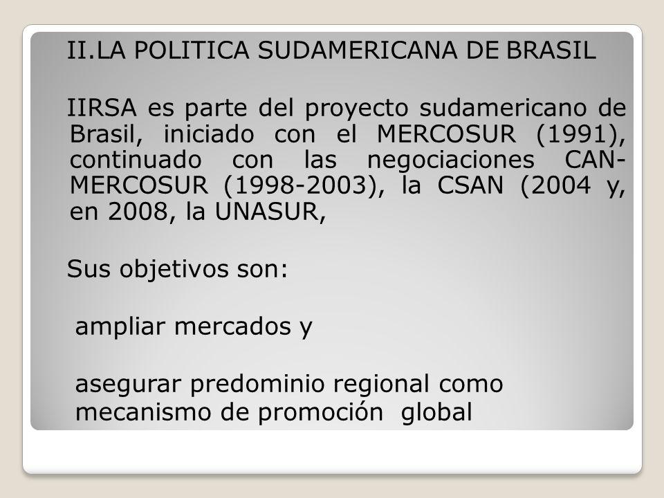 II.LA POLITICA SUDAMERICANA DE BRASIL IIRSA es parte del proyecto sudamericano de Brasil, iniciado con el MERCOSUR (1991), continuado con las negociac