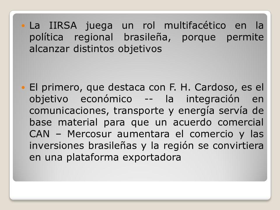 Pero IIRSA cumple un rol también dentro del desarrollo económico de Brasil, como extensión del programa brasileño de ejes de integración La experiencia frustrada de la construcción de la carretera transamazónica en los años 70 ilustra una constatación fundamental,…: Brasil sólo se integrará internamente cuando logre integrarse al continente como un todo.