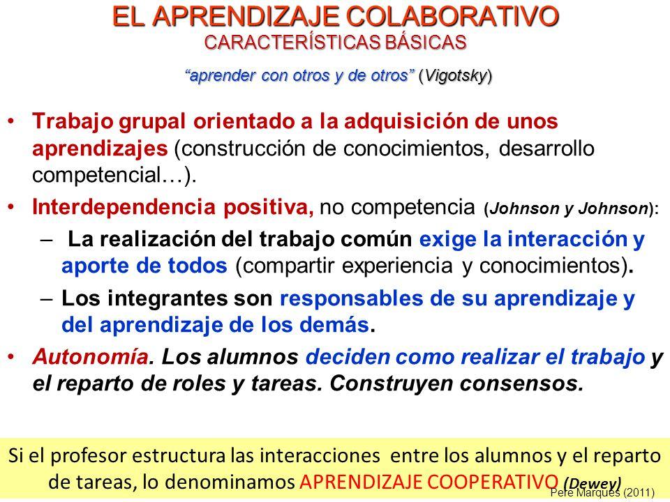 EL APRENDIZAJE COLABORATIVO CARACTERÍSTICAS BÁSICAS Trabajo grupal orientado a la adquisición de unos aprendizajes (construcción de conocimientos, des