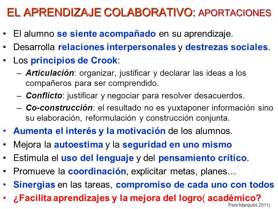 EL APRENDIZAJE COLABORATIVO: APORTACIONES El alumno se siente acompañado en su aprendizaje. Desarrolla relaciones interpersonales y destrezas sociales