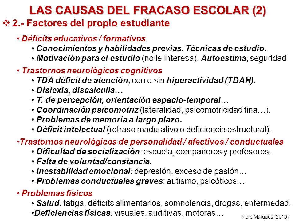 LAS CAUSAS DEL FRACASO ESCOLAR (2) 2.- Factores del propio estudiante Déficits educativos / formativos Conocimientos y habilidades previas. Técnicas d