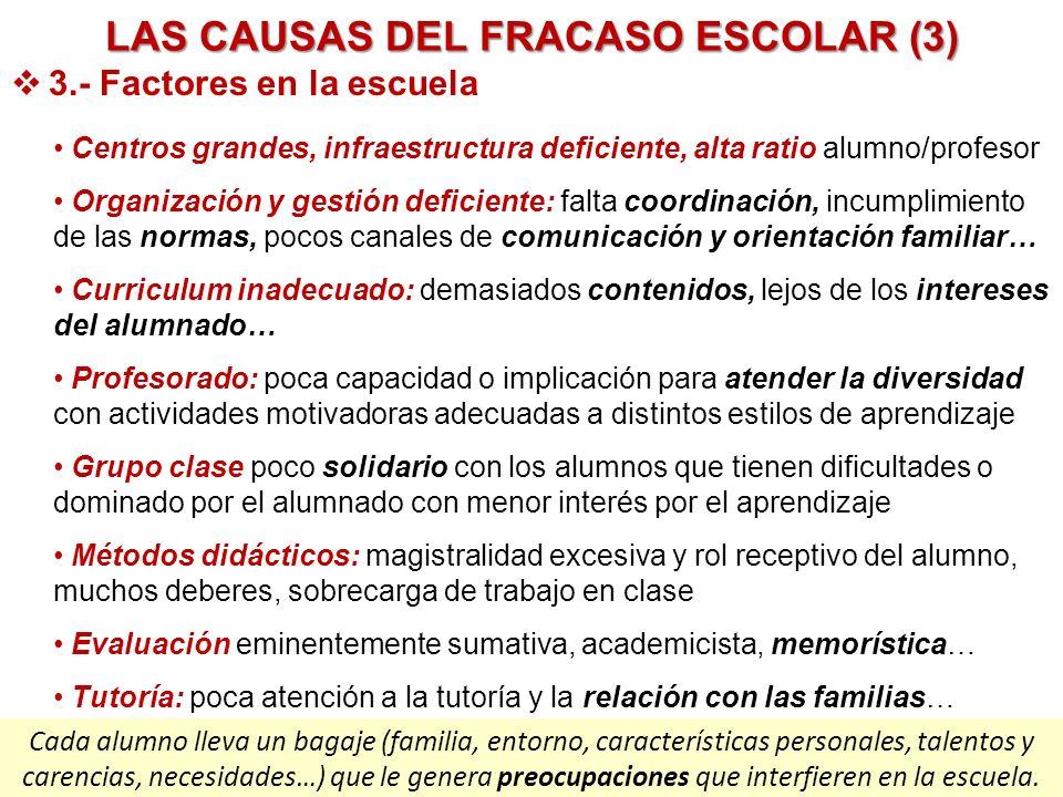 LAS CAUSAS DEL FRACASO ESCOLAR (3) 3.- Factores en la escuela Centros grandes, infraestructura deficiente, alta ratio alumno/profesor Organización y g