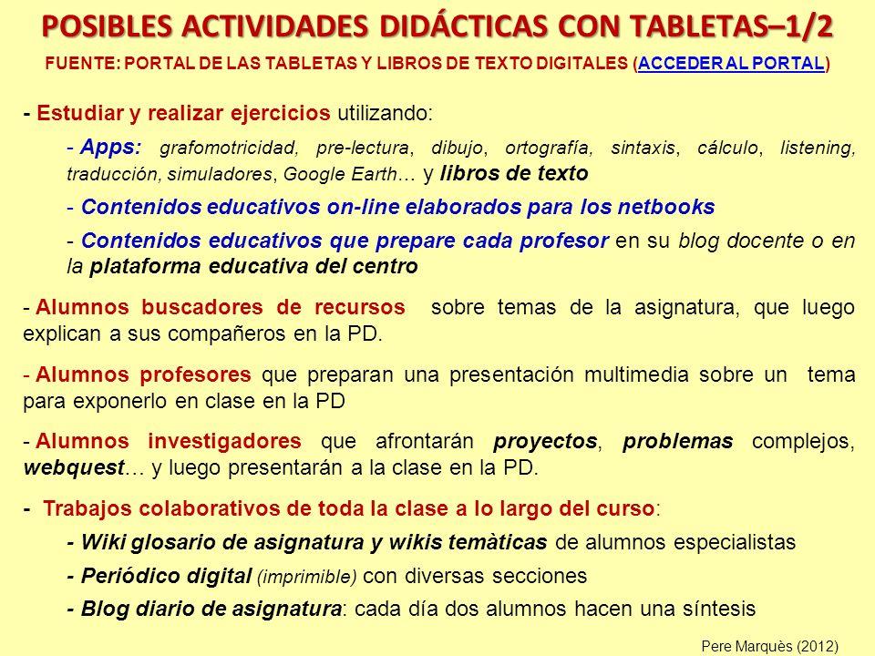 POSIBLES ACTIVIDADES DIDÁCTICAS CON TABLETAS–1/2 FUENTE: PORTAL DE LAS TABLETAS Y LIBROS DE TEXTO DIGITALES (ACCEDER AL PORTAL)ACCEDER AL PORTAL - Est