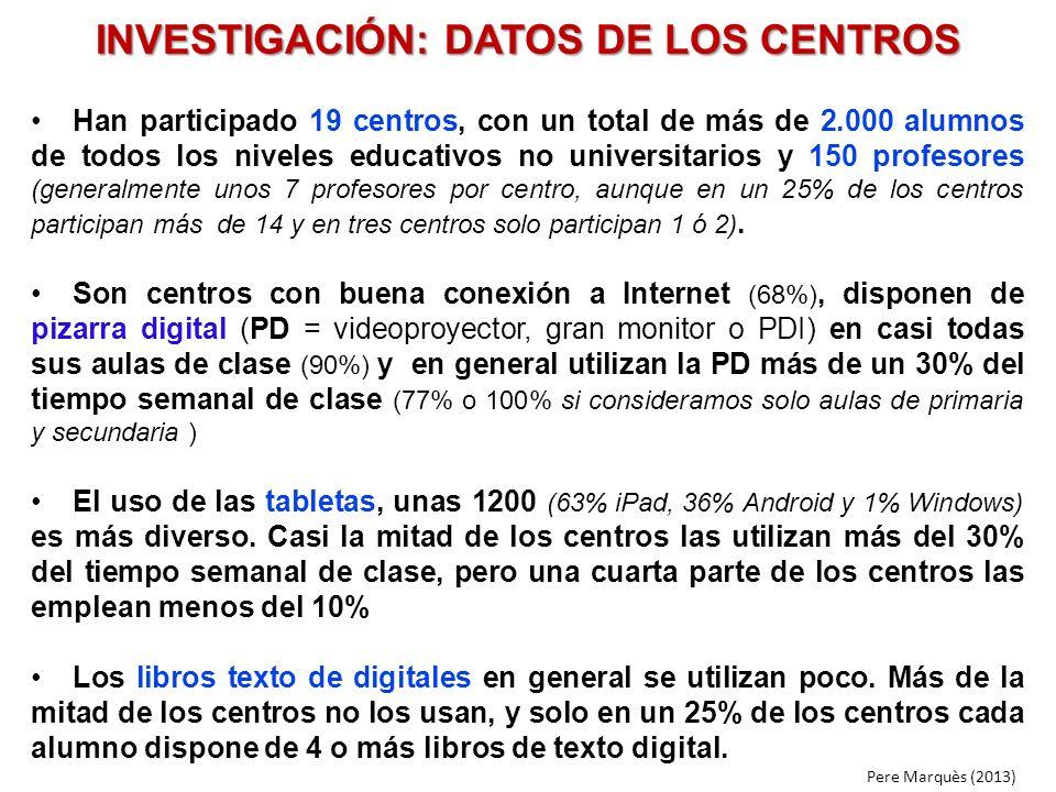 INVESTIGACIÓN: DATOS DE LOS CENTROS Han participado 19 centros, con un total de más de 2.000 alumnos de todos los niveles educativos no universitarios