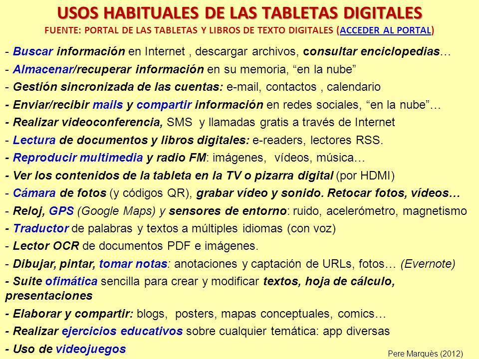 Y algunos profesores añaden: hay muchas apps educativas; los alumnos aprenden rápido a usarlas, sorprende ver usarlas a los niños de 1 año INVESTIGACIÓN: VENTAJAS CONSTATADAS Pere Marquès (2013) 100/100% Acceso a múltiples fuentes de información en Internet 100/100% Portabilidad: la tableta se traslada con facilidad 100/100% Los alumnos están cómodos, conocen bien los entornos móviles 95/93% Multifuncionalidad: da recursos para variadas actividades de aprendizaje 95/94% Apoyan metodologías centradas en el estudiante y su autonomía 95/93% Facilitan el tratamiento personalizado de la diversidad de alumnos 86/80% Facilitan realizar actividades de refuerzo: memorísticas y prácticas 82/73% Difunden las competencias digitales en los entornos familiares 68/73% Colaboración y apoyo: acceso entornos colaborativos y para compartir 50/60% Más comunicación entre los alumnos y con los profesores 27/20% Más comunicación entre profesores y familias