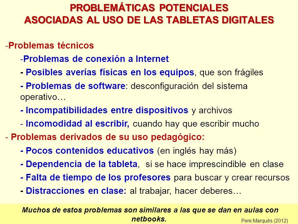 PROBLEMÁTICAS POTENCIALES ASOCIADAS AL USO DE LAS TABLETAS DIGITALES -Problemas técnicos -Problemas de conexión a Internet - Posibles averías físicas
