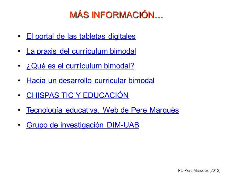 El portal de las tabletas digitales La praxis del currículum bimodal ¿Qué es el currículum bimodal? Hacia un desarrollo curricular bimodal CHISPAS TIC