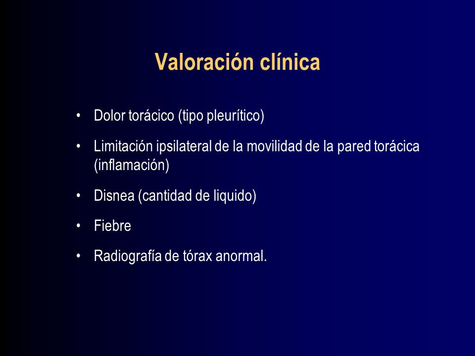 Valoración clínica A la EF se detecta Sx de DP con Liq de 300 mL Mov del lado afectado disminuido (Signo de Hoover) Percusión mate RR y TV ausentes Hallasgos clínicos de consolidación por arriba del DP Los hallazgos clínicos de un DP masivo y una atelectasia de total son idénticos.
