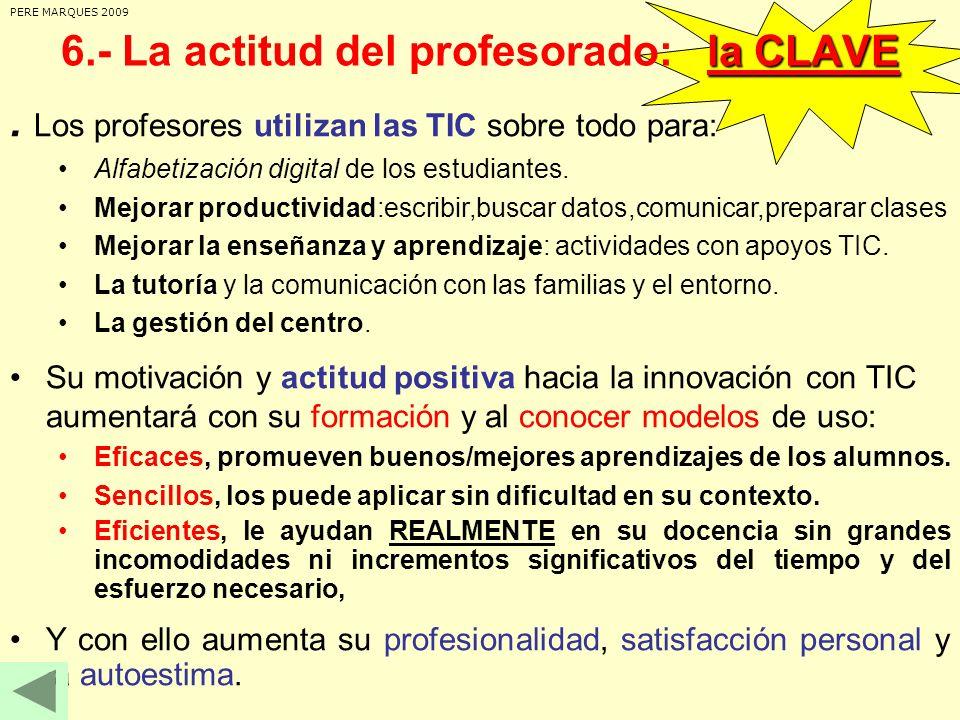 . Los profesores utilizan las TIC sobre todo para: Alfabetización digital de los estudiantes. Mejorar productividad:escribir,buscar datos,comunicar,pr