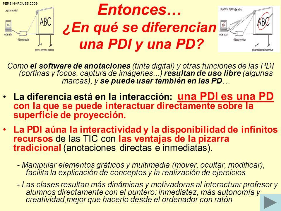 Entonces… ¿En qué se diferencian una PDI y una PD? Como el software de anotaciones (tinta digital) y otras funciones de las PDI (cortinas y focos, cap