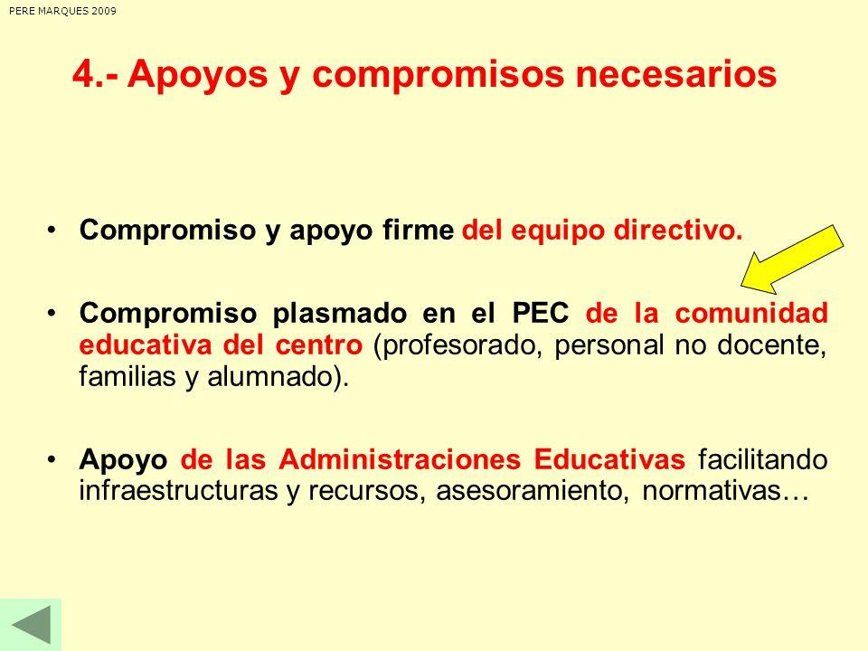 Compromiso y apoyo firme del equipo directivo. Compromiso plasmado en el PEC de la comunidad educativa del centro (profesorado, personal no docente, f