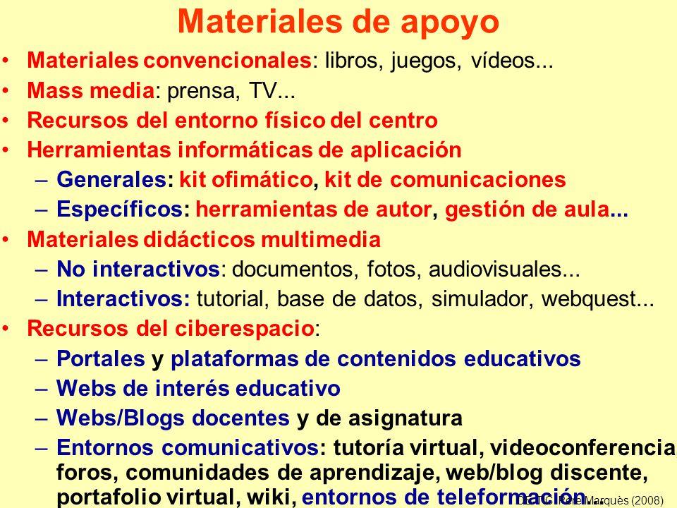 Materiales de apoyo Materiales convencionales: libros, juegos, vídeos... Mass media: prensa, TV... Recursos del entorno físico del centro Herramientas
