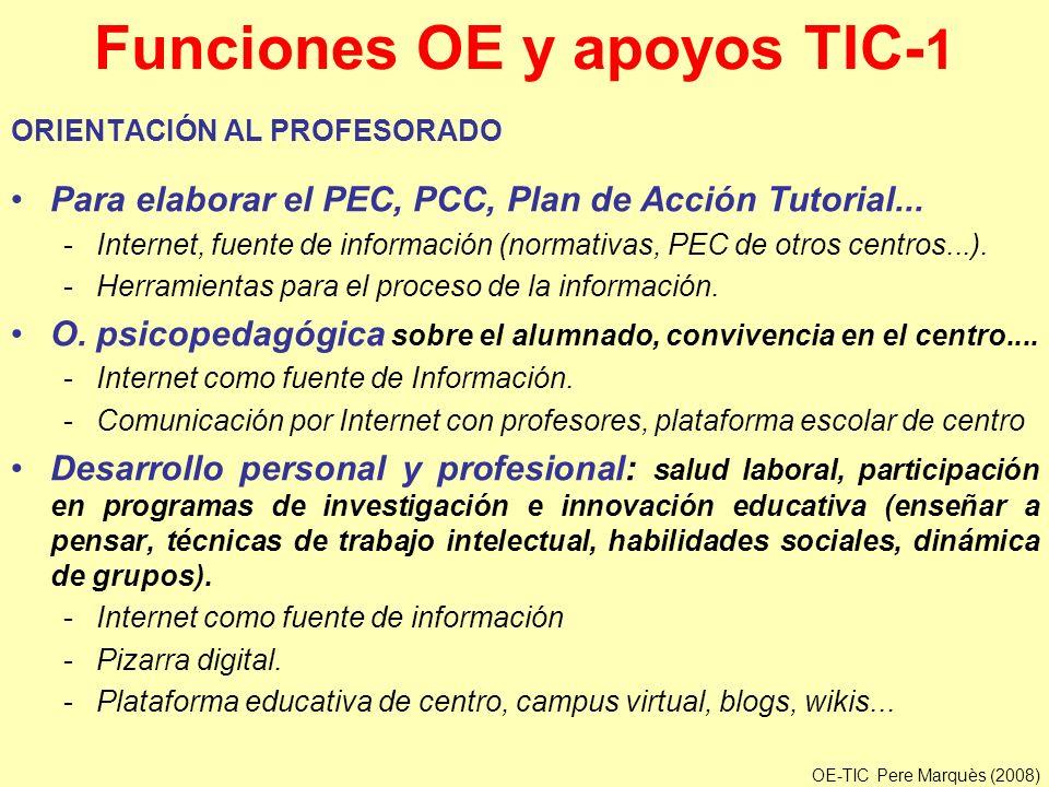 Funciones OE y apoyos TIC- 1 ORIENTACIÓN AL PROFESORADO Para elaborar el PEC, PCC, Plan de Acción Tutorial... -Internet, fuente de información (normat