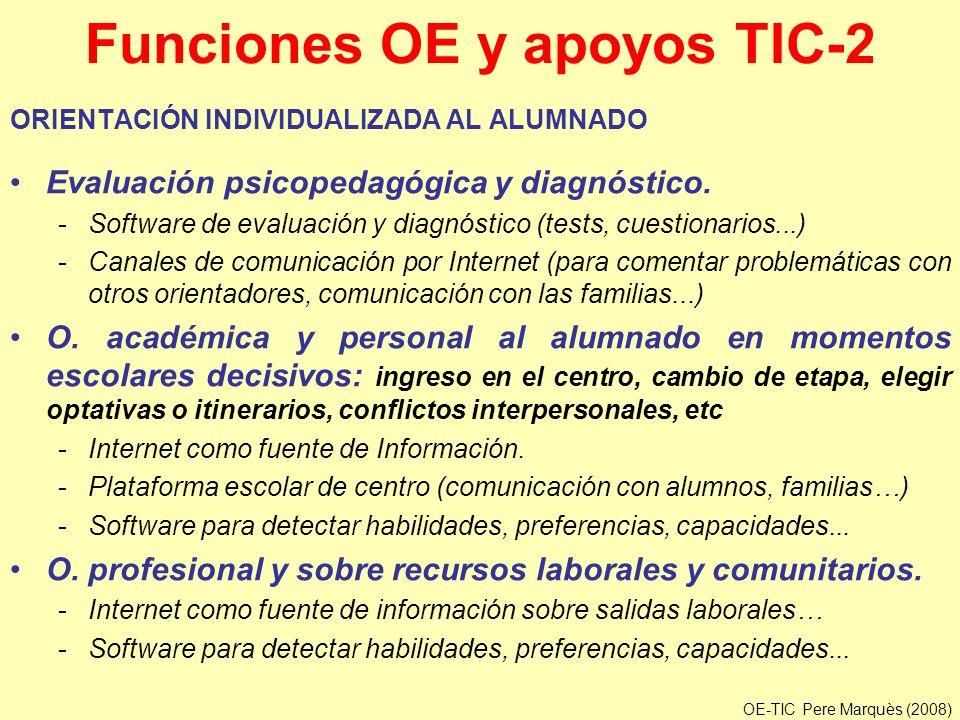Funciones OE y apoyos TIC-2 ORIENTACIÓN INDIVIDUALIZADA AL ALUMNADO Evaluación psicopedagógica y diagnóstico. -Software de evaluación y diagnóstico (t