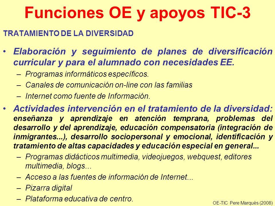 Funciones OE y apoyos TIC-3 TRATAMIENTO DE LA DIVERSIDAD Elaboración y seguimiento de planes de diversificación curricular y para el alumnado con nece