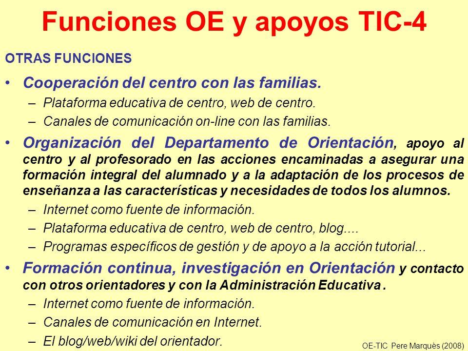 Funciones OE y apoyos TIC-4 OTRAS FUNCIONES Cooperación del centro con las familias. –Plataforma educativa de centro, web de centro. –Canales de comun