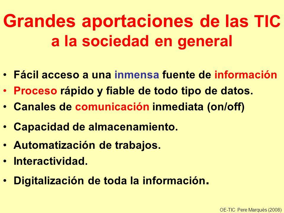Grandes aportaciones de las TIC a la sociedad en general Fácil acceso a una inmensa fuente de información Proceso rápido y fiable de todo tipo de dato