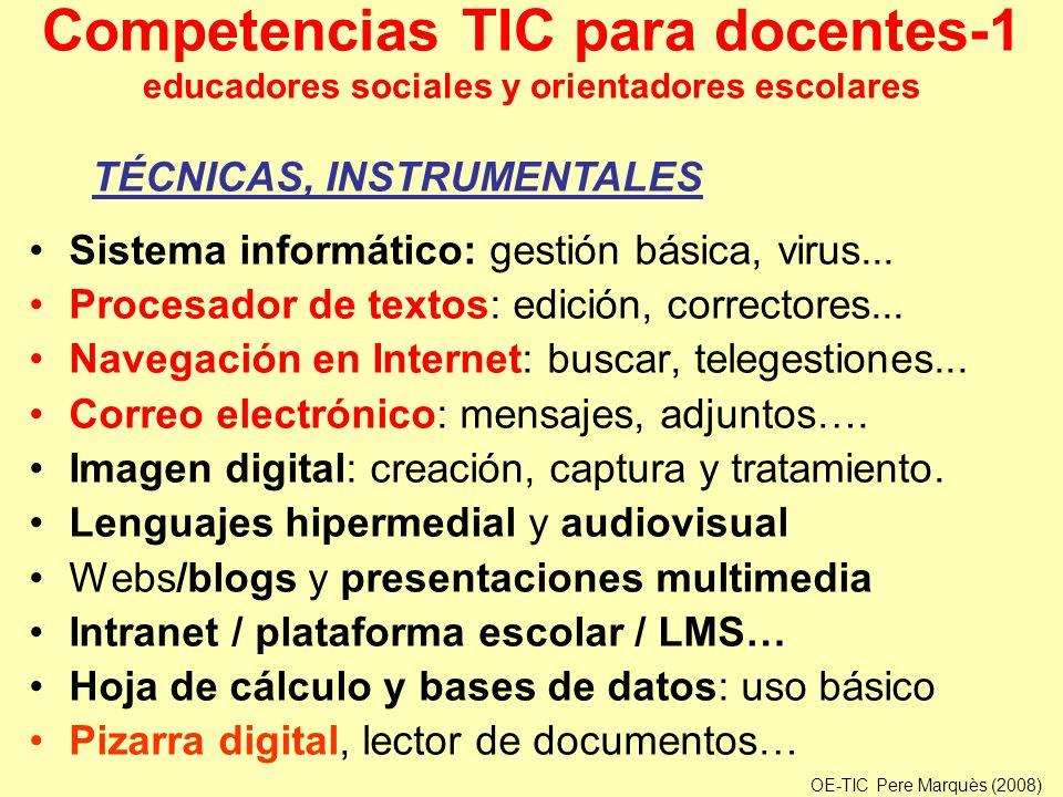 Competencias TIC para docentes-1 educadores sociales y orientadores escolares Sistema informático: gestión básica, virus... Procesador de textos: edic