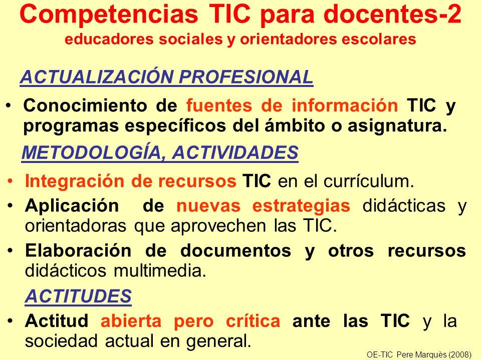 Competencias TIC para docentes-2 educadores sociales y orientadores escolares Conocimiento de fuentes de información TIC y programas específicos del á