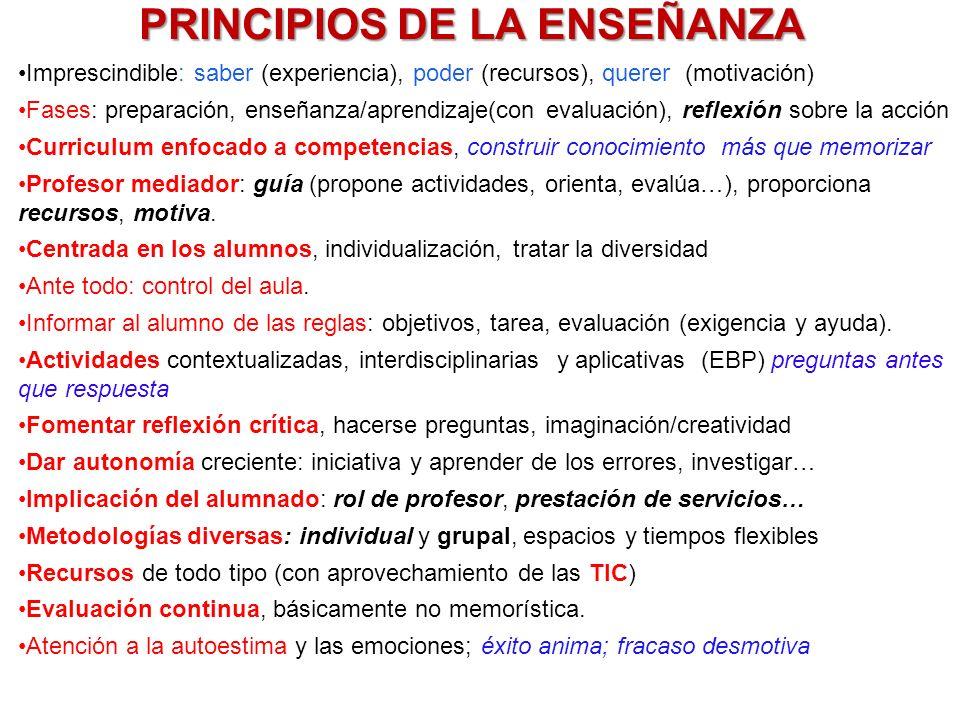 PRINCIPIOS DE LA ENSEÑANZA Imprescindible: saber (experiencia), poder (recursos), querer (motivación) Fases: preparación, enseñanza/aprendizaje(con ev