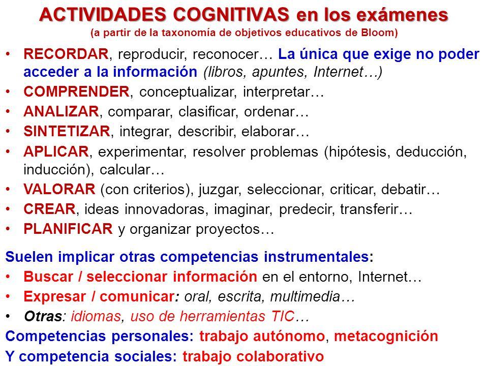 ACTIVIDADES COGNITIVAS en los exámenes RECORDAR, reproducir, reconocer… La única que exige no poder acceder a la información (libros, apuntes, Internet…) COMPRENDER, conceptualizar, interpretar… ANALIZAR, comparar, clasificar, ordenar… SINTETIZAR, integrar, describir, elaborar… APLICAR, experimentar, resolver problemas (hipótesis, deducción, inducción), calcular… VALORAR (con criterios), juzgar, seleccionar, criticar, debatir… CREAR, ideas innovadoras, imaginar, predecir, transferir… PLANIFICAR y organizar proyectos… (a partir de la taxonomía de objetivos educativos de Bloom) Suelen implicar otras competencias instrumentales: Buscar / seleccionar información en el entorno, Internet… Expresar / comunicar: oral, escrita, multimedia… Otras: idiomas, uso de herramientas TIC… Competencias personales: trabajo autónomo, metacognición Y competencia sociales: trabajo colaborativo