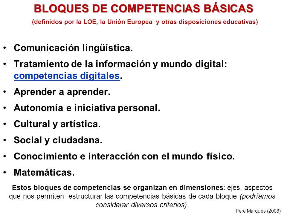 (definidos por la LOE, la Unión Europea y otras disposiciones educativas) Comunicación lingüística.