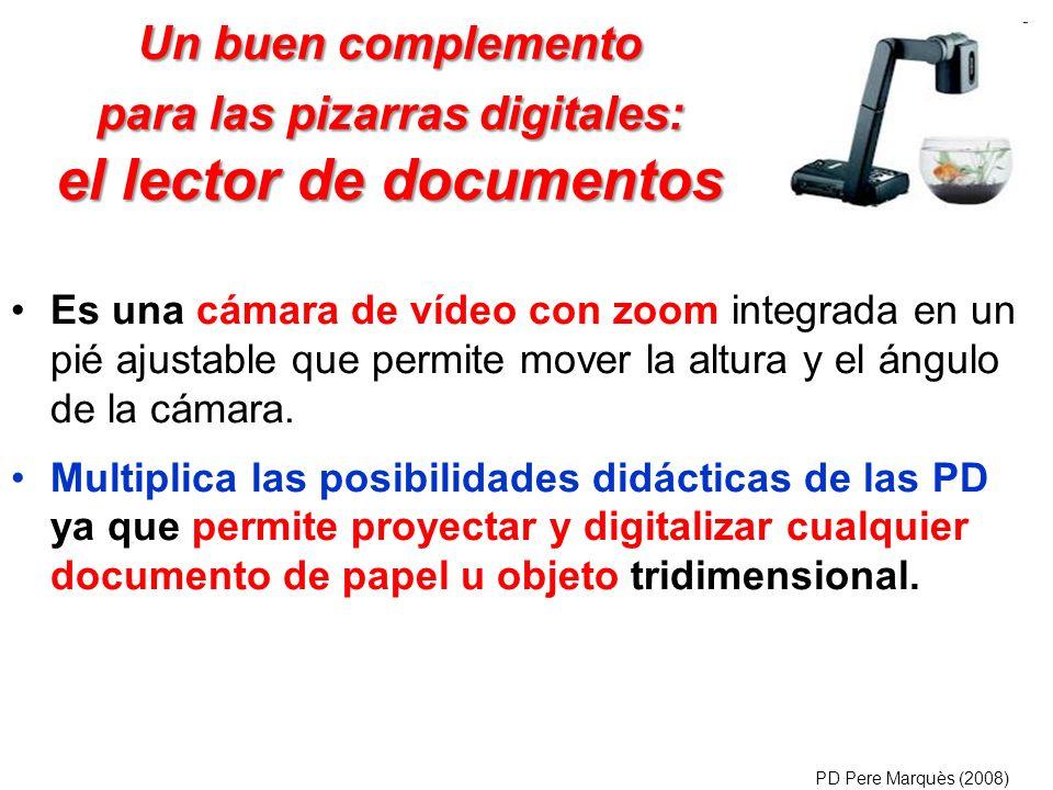 Un buen complemento para las pizarras digitales: el lector de documentos Es una cámara de vídeo con zoom integrada en un pié ajustable que permite mov