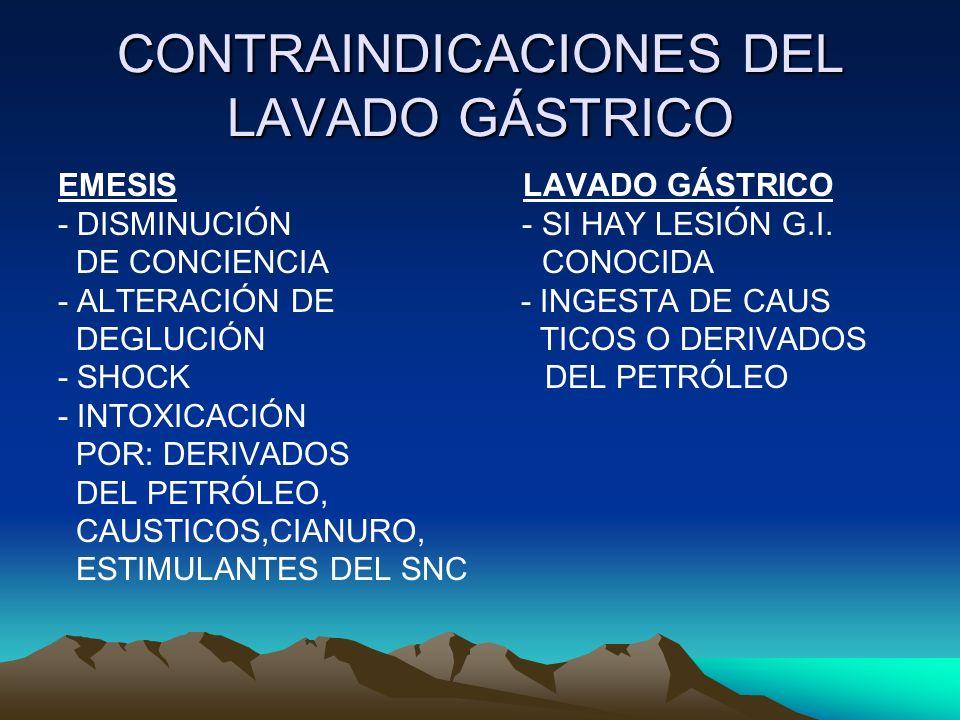 CONTRAINDICACIONES DEL LAVADO GÁSTRICO EMESIS LAVADO GÁSTRICO - DISMINUCIÓN - SI HAY LESIÓN G.I. DE CONCIENCIA CONOCIDA - ALTERACIÓN DE - INGESTA DE C