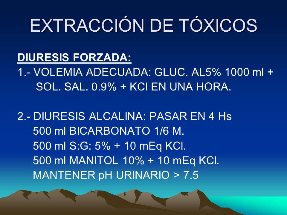 EXTRACCIÓN DE TÓXICOS DIURESIS FORZADA: 1.- VOLEMIA ADECUADA: GLUC. AL5% 1000 ml + SOL. SAL. 0.9% + KCl EN UNA HORA. 2.- DIURESIS ALCALINA: PASAR EN 4