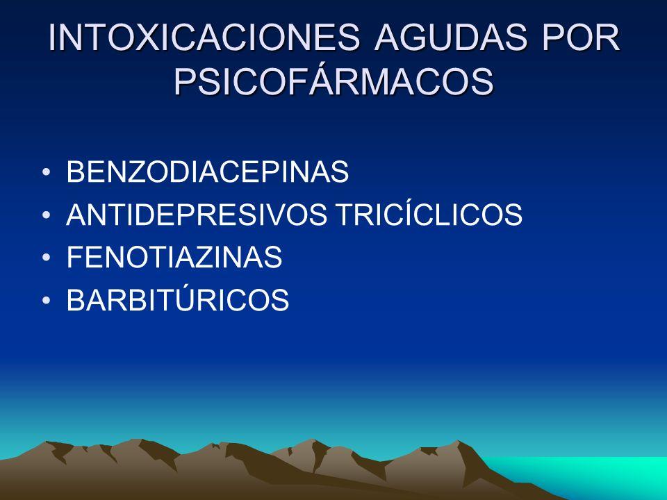 INTOXICACIONES AGUDAS POR PSICOFÁRMACOS BENZODIACEPINAS ANTIDEPRESIVOS TRICÍCLICOS FENOTIAZINAS BARBITÚRICOS
