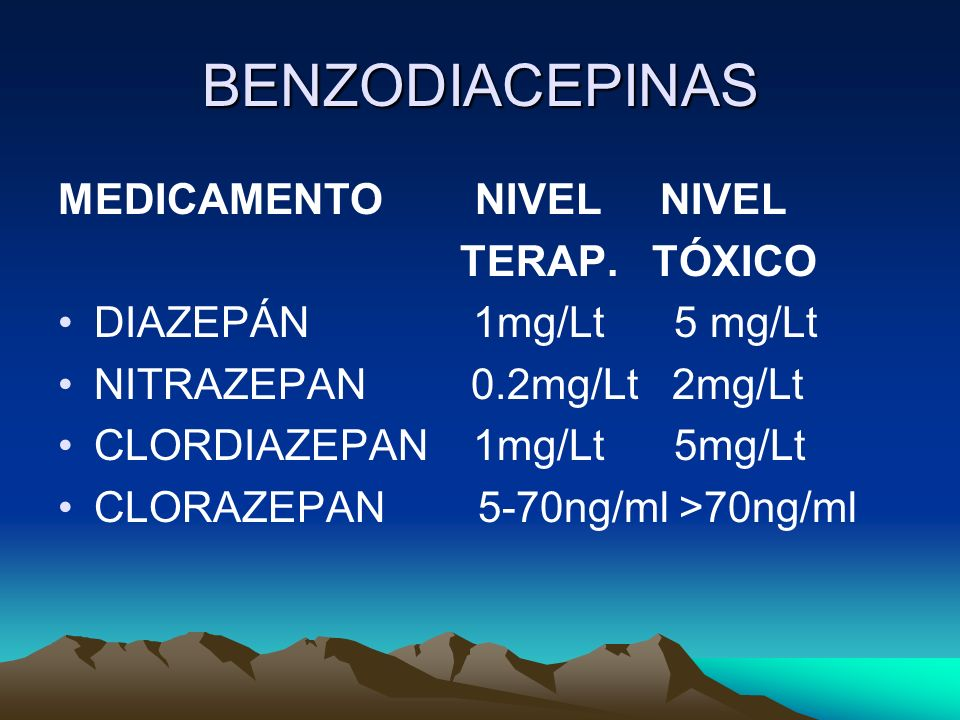 BENZODIACEPINAS MEDICAMENTO NIVEL NIVEL TERAP. TÓXICO DIAZEPÁN 1mg/Lt 5 mg/Lt NITRAZEPAN 0.2mg/Lt 2mg/Lt CLORDIAZEPAN 1mg/Lt 5mg/Lt CLORAZEPAN 5-70ng/