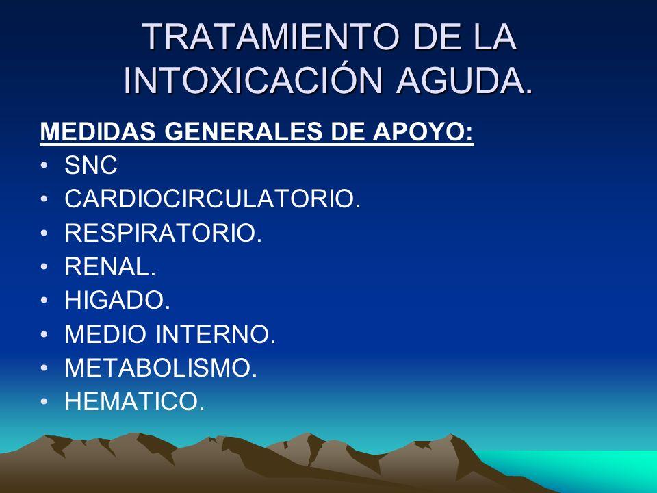 TRATAMIENTO DE LA INTOXICACIÓN AGUDA. MEDIDAS GENERALES DE APOYO: SNC CARDIOCIRCULATORIO. RESPIRATORIO. RENAL. HIGADO. MEDIO INTERNO. METABOLISMO. HEM