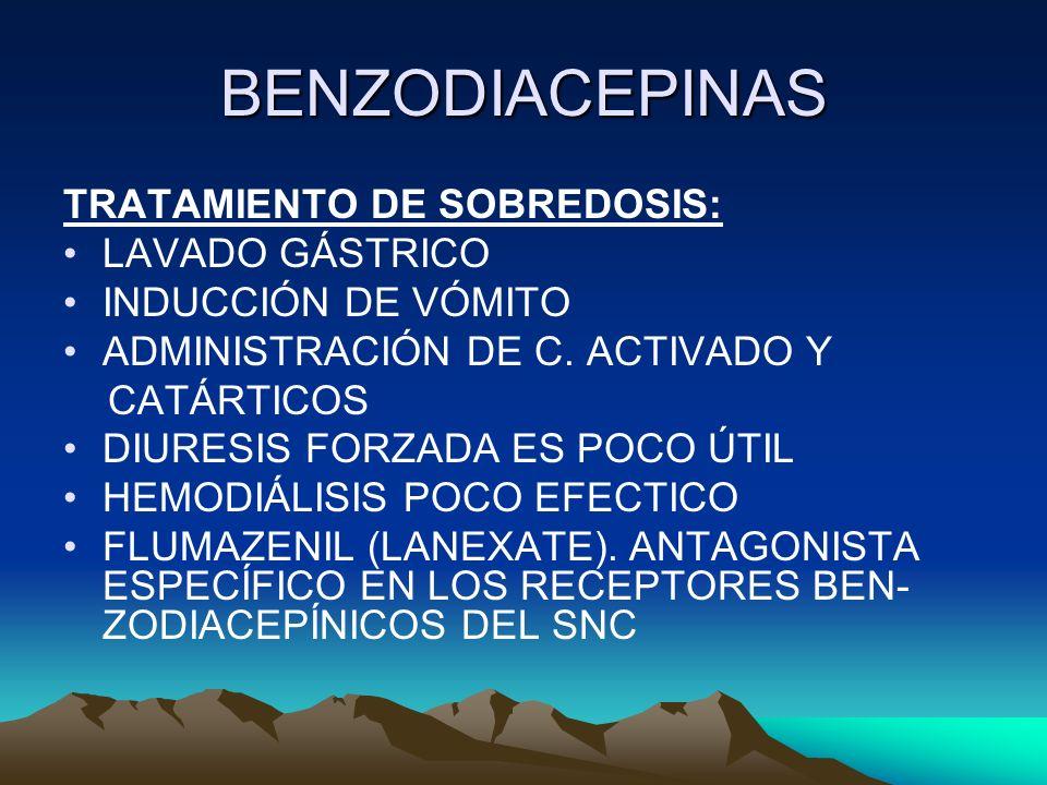 BENZODIACEPINAS TRATAMIENTO DE SOBREDOSIS: LAVADO GÁSTRICO INDUCCIÓN DE VÓMITO ADMINISTRACIÓN DE C. ACTIVADO Y CATÁRTICOS DIURESIS FORZADA ES POCO ÚTI
