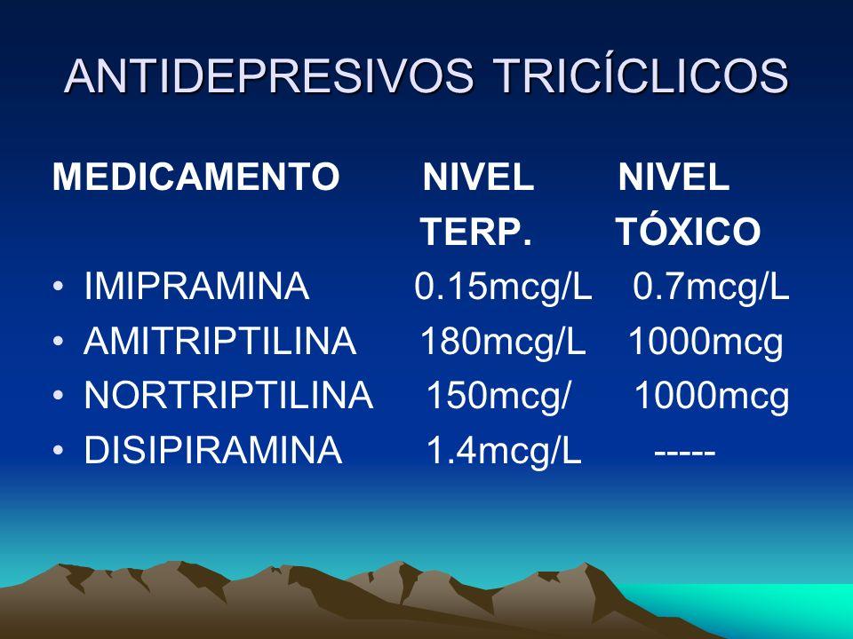 ANTIDEPRESIVOS TRICÍCLICOS MEDICAMENTO NIVEL NIVEL TERP. TÓXICO IMIPRAMINA 0.15mcg/L 0.7mcg/L AMITRIPTILINA 180mcg/L 1000mcg NORTRIPTILINA 150mcg/ 100