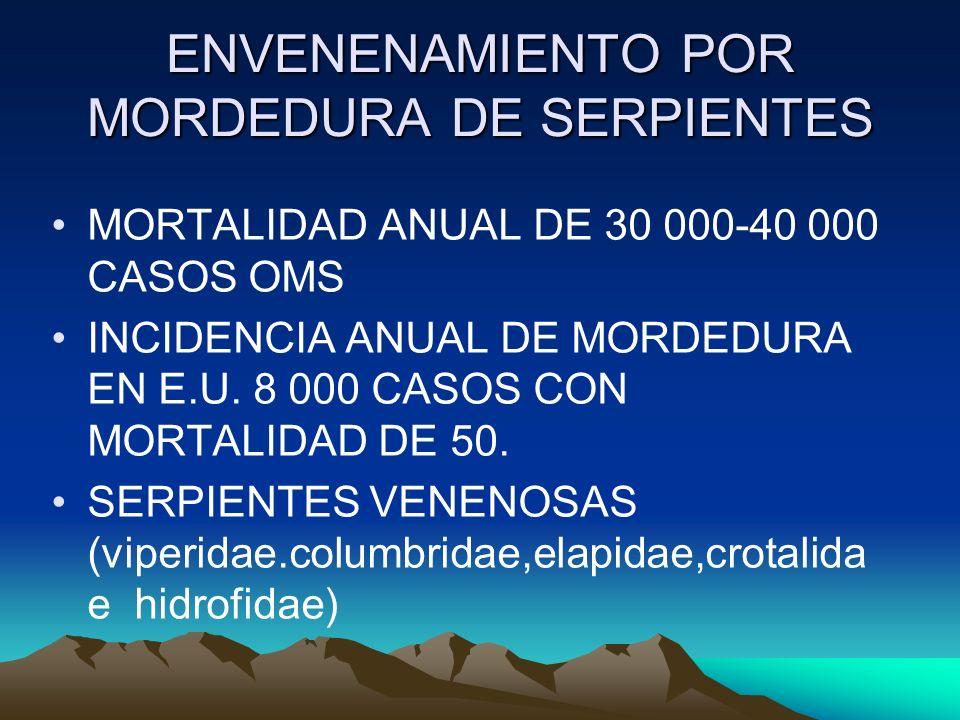 ENVENENAMIENTO POR MORDEDURA DE SERPIENTES MORTALIDAD ANUAL DE 30 000-40 000 CASOS OMS INCIDENCIA ANUAL DE MORDEDURA EN E.U. 8 000 CASOS CON MORTALIDA