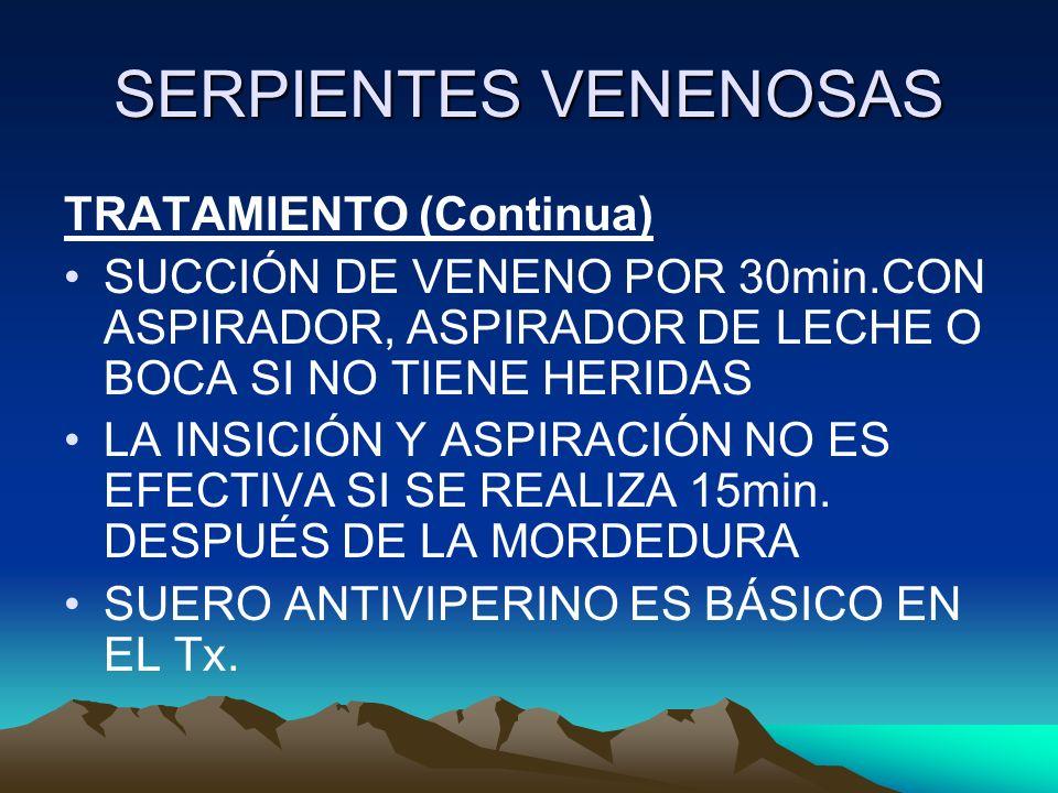 SERPIENTES VENENOSAS TRATAMIENTO (Continua) SUCCIÓN DE VENENO POR 30min.CON ASPIRADOR, ASPIRADOR DE LECHE O BOCA SI NO TIENE HERIDAS LA INSICIÓN Y ASP