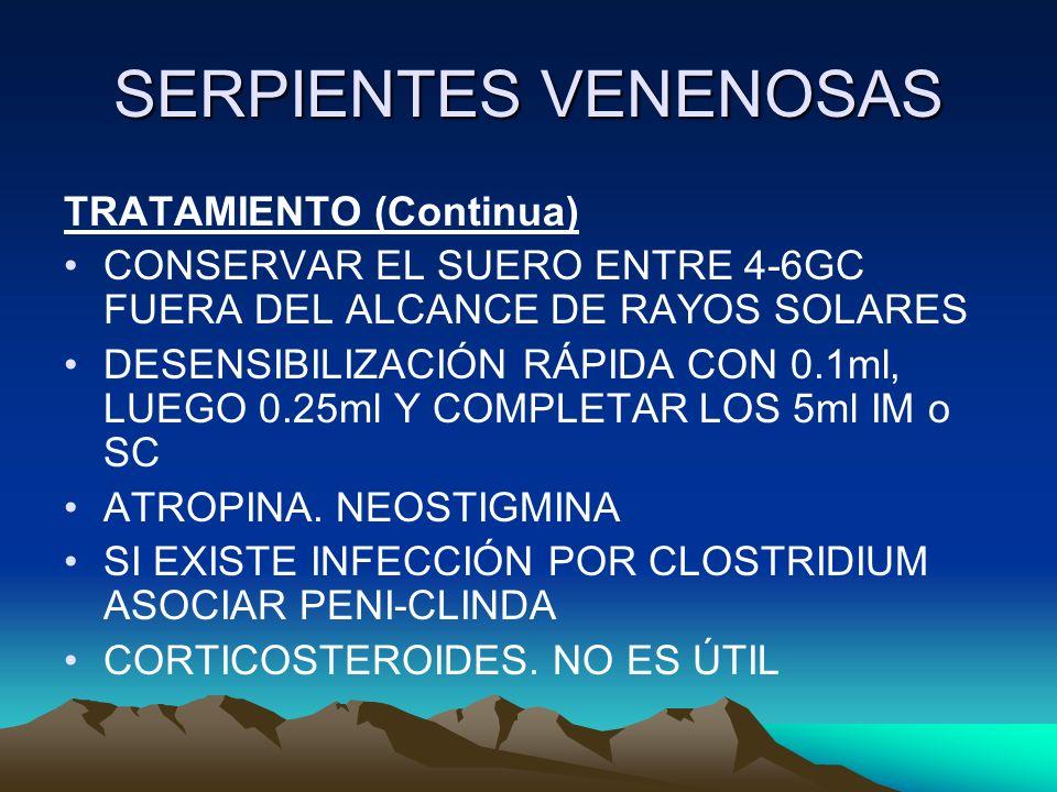 SERPIENTES VENENOSAS TRATAMIENTO (Continua) CONSERVAR EL SUERO ENTRE 4-6GC FUERA DEL ALCANCE DE RAYOS SOLARES DESENSIBILIZACIÓN RÁPIDA CON 0.1ml, LUEG