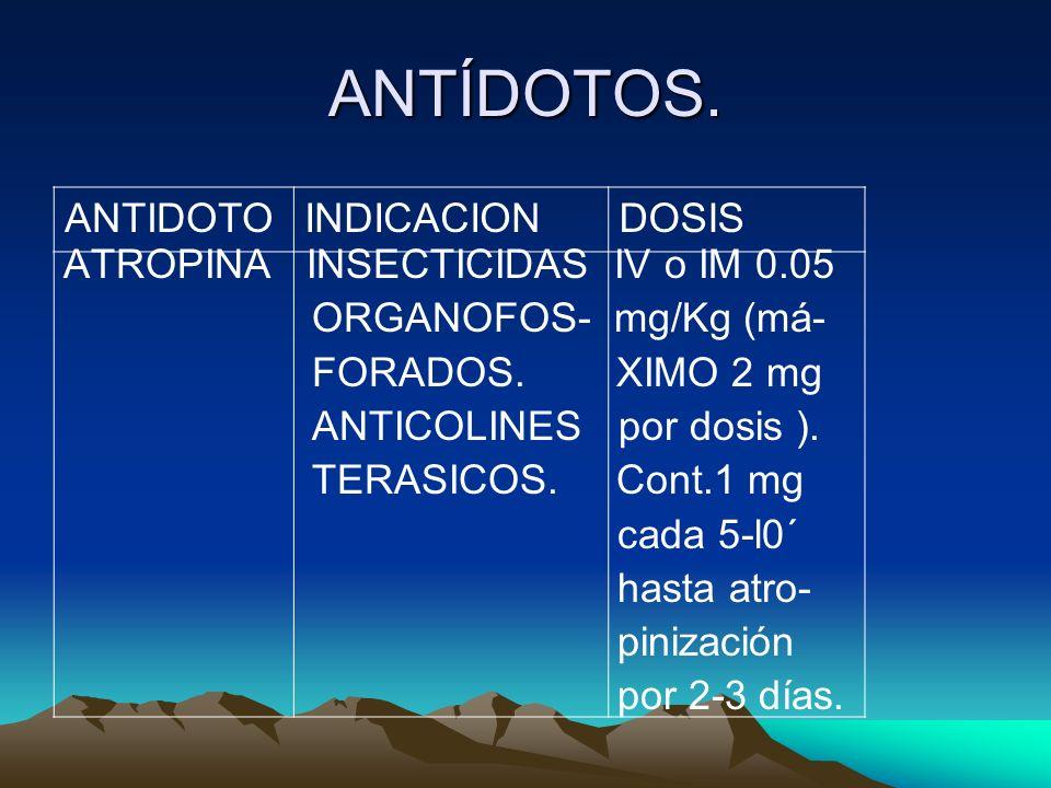 ANTÍDOTOS. ATROPINA INSECTICIDAS IV o IM 0.05 ORGANOFOS- mg/Kg (má- FORADOS. XIMO 2 mg ANTICOLINES por dosis ). TERASICOS. Cont.1 mg cada 5-l0´ hasta