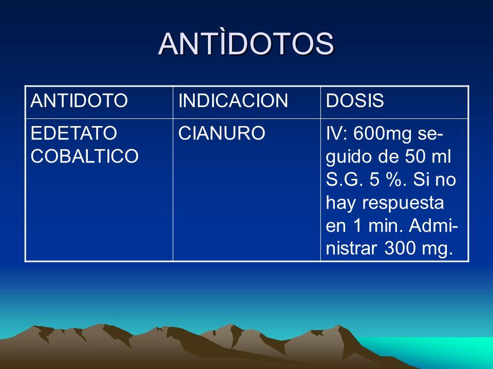 ANTÌDOTOS ANTIDOTOINDICACIONDOSIS EDETATO COBALTICO CIANUROIV: 600mg se- guido de 50 ml S.G. 5 %. Si no hay respuesta en 1 min. Admi- nistrar 300 mg.
