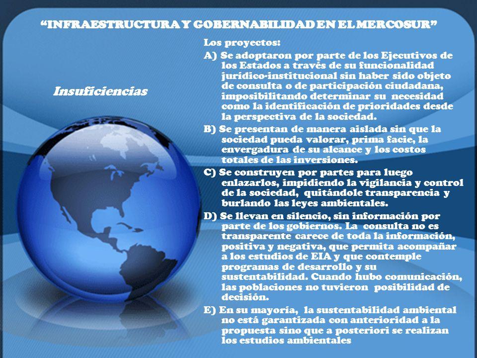 INFRAESTRUCTURA Y GOBERNABILIDAD EN EL MERCOSUR Insuficiencias Los proyectos: A) Se adoptaron por parte de los Ejecutivos de los Estados a través de s