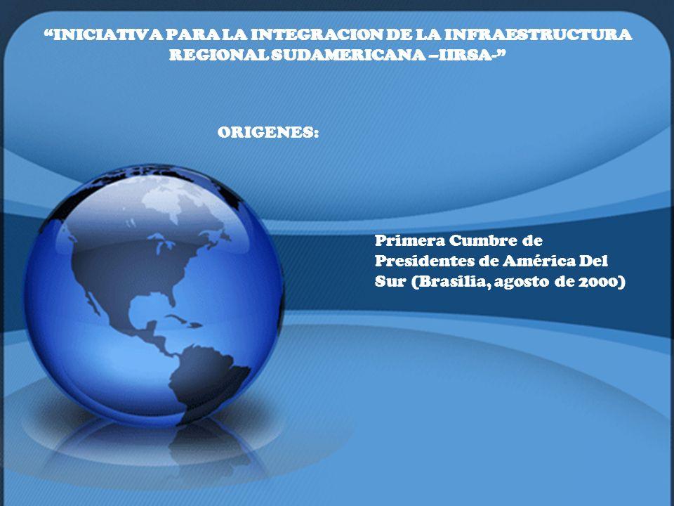 INICIATIVA PARA LA INTEGRACION DE LA INFRAESTRUCTURA REGIONAL SUDAMERICANA –IIRSA- ORIGENES: Primera Cumbre de Presidentes de América Del Sur (Brasili