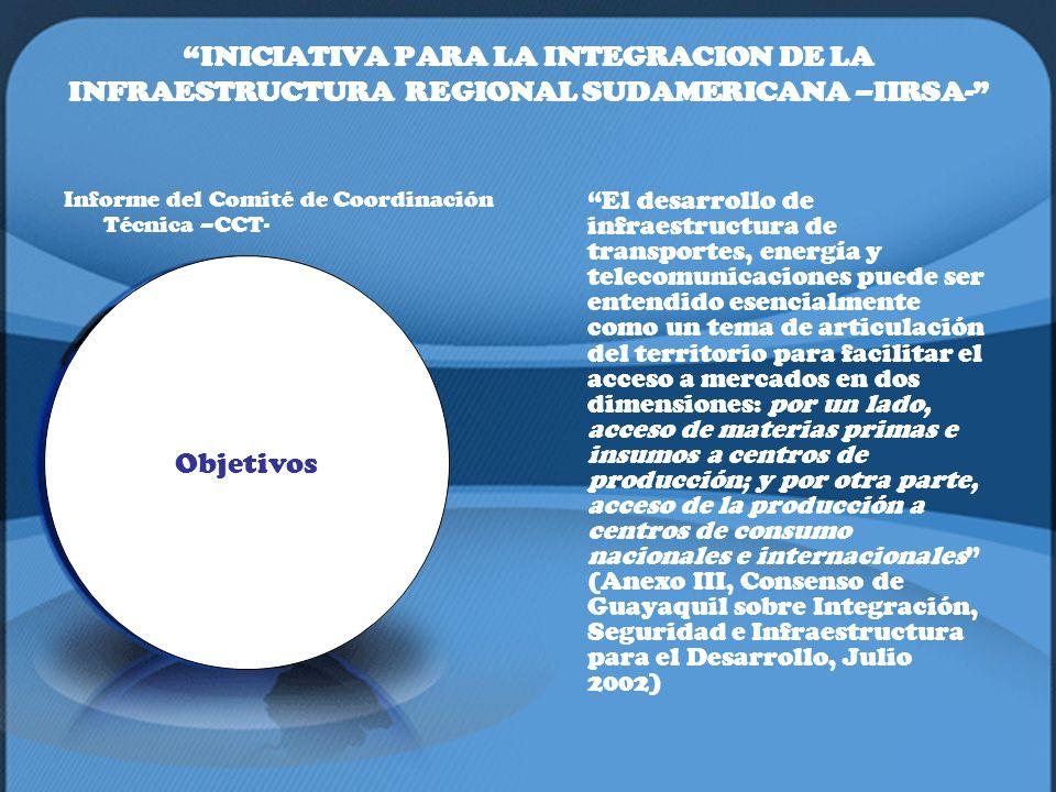 INICIATIVA PARA LA INTEGRACION DE LA INFRAESTRUCTURA REGIONAL SUDAMERICANA –IIRSA- Informe del Comité de Coordinación Técnica –CCT- El desarrollo de i
