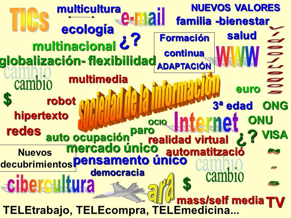 mass/self media TV globalización- flexibilidad mercado único pensamento único ecología ONG redes NUEVOS VALORES TELEtrabajo, TELEcompra, TELEmedicina...