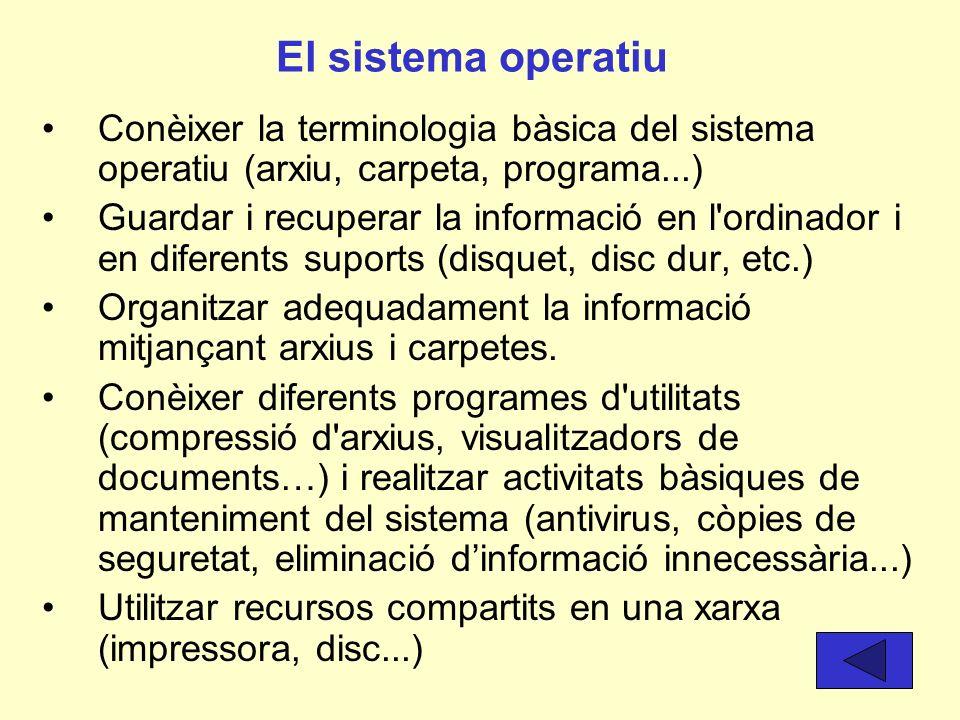 Els sistemes informàtics (hardware, xarxes, software) Conèixer els elements bàsics de l'ordinador i les seves funcions. Conèixer el procés correcte pe