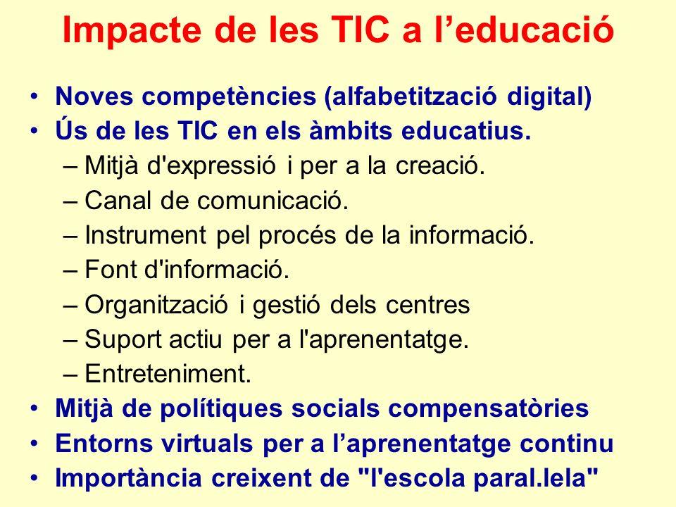 Impacte de les TIC a leducació Noves competències (alfabetització digital) Ús de les TIC en els àmbits educatius.