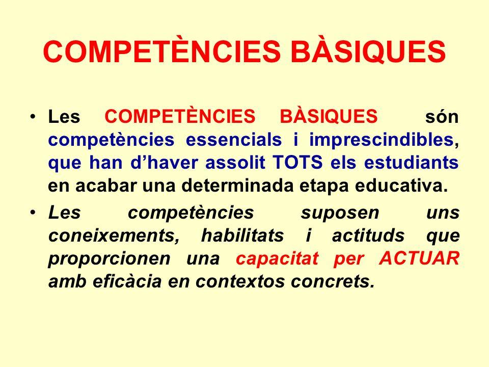 COMPETÈNCIES BÀSIQUES Les COMPETÈNCIES BÀSIQUES són competències essencials i imprescindibles, que han dhaver assolit TOTS els estudiants en acabar una determinada etapa educativa.